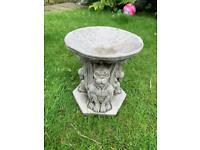 "Stone garden gargoyle birdbath, measures 11"" tall by 10"" across. New"