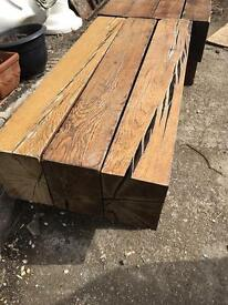 Pair of Railway sleeper coffee table / bench