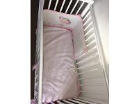 White Cot & mattress ( bedding not inc) smoke & pet free home