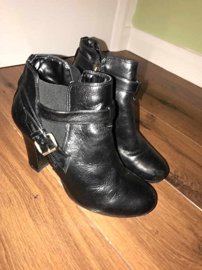 Dune black leather ankle boots size 39/6