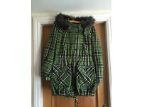 Next green tartan check coat