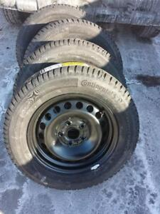 BRAND NEW VOLKSWAGON JETTA  / GOLF HIGH PERFORMANCE GCONTINENTAL  WINTER TIRES 195 / 65 / 15 ON FACTORY OEM STEEL RIMS.