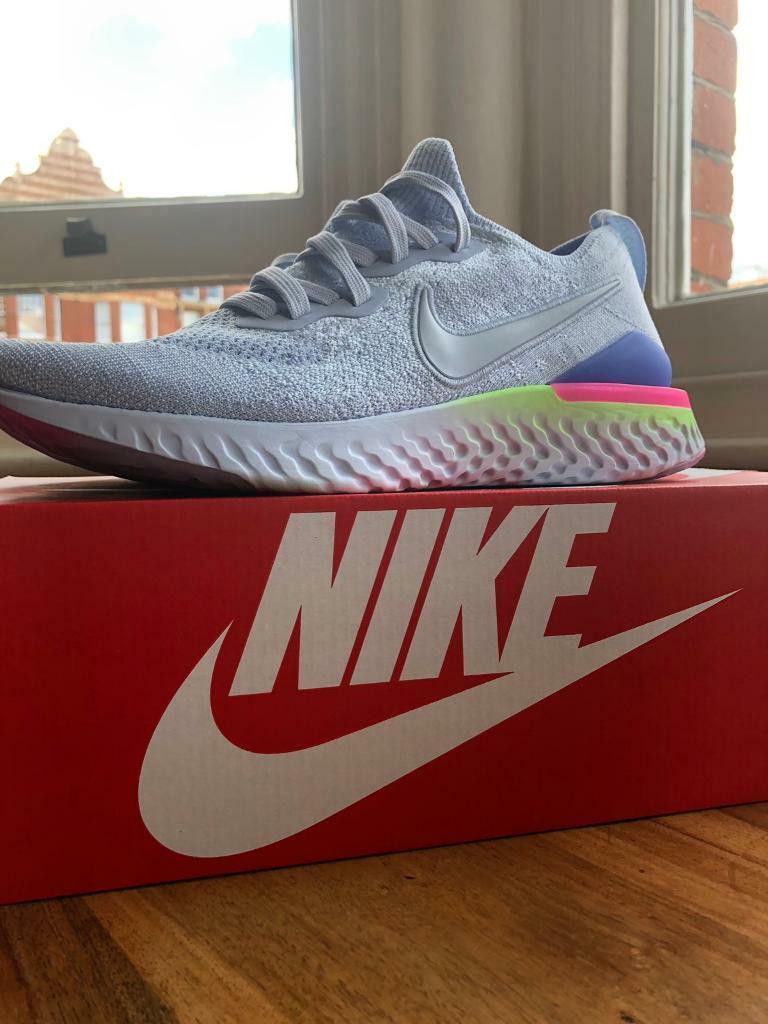 Womens Running | Nike Epic React Flyknit 2 Hydrogen BlueBlackLime BlastSapphire