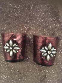 Purple glass tea light holders with pearl