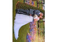 Wedding dress, wedding gloves and veil.