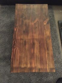 Reclaimed wood coffee table with blanket crate