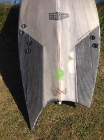 """5',7"""" asymmetric shipshape surfboard, for a regular footer Fcs fin systems 2 + 1"""