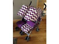 Obaby Leto double pram stroller in zig zag purple