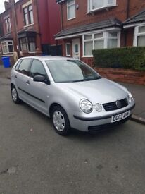 VW polo 2003 in sliver colour 5 doors 10 months mot 48,000 miles service history