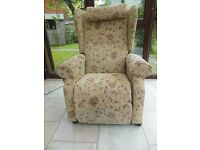 Easy to Use 2-Button Fabric Electric Rise Recliner, Good Condition.