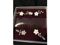 Handmade Mother of Pearl Flower Hair Pins