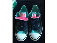 Black and turquoise converse