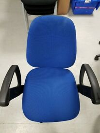 For Sale - 2 x Used Blue swivel high back adjustable computer/office chairs £10 each