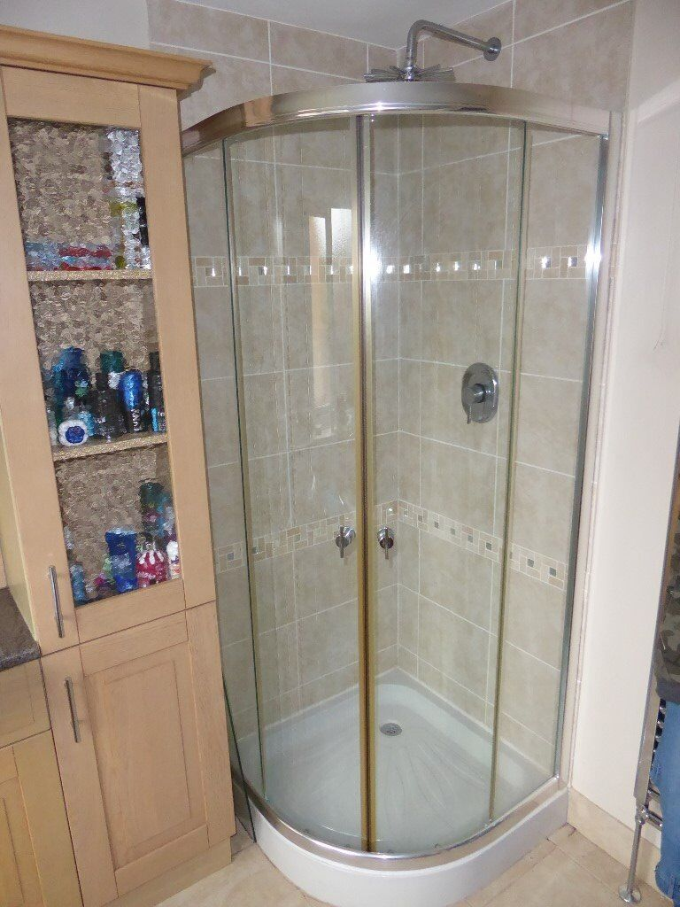 Corner shower cubicle enclosure with sliding glass doors and shower ...