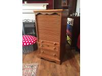 Solid pine roll top cabinet