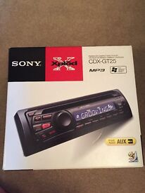 Sony xplode car stereo, CD player and aux to front