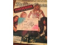 Guns N' Roses Rolling Stone Magazine! Original from 1989 and Signed Slash Ticket