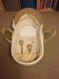cream moses basket in excellent condition