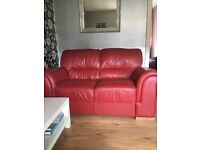 Red 3+2 leather sofa, rug, accessories see pics