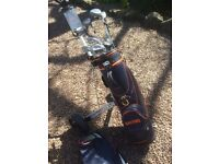 Set of Swilken Alta clubs, Made in Scotland, all alloy. Ben Sayers bag and trolley.
