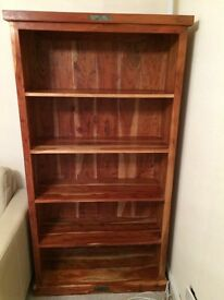 Bookcase solid Indian rubber wood and inset stone detail