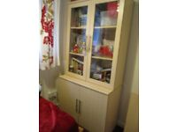 glazed cabinet with cupboard under