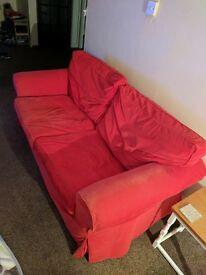red corduroy 2 seater sofa