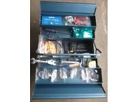 Metal cantilever tool box with assorted tools £26