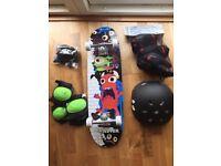 Monster Skateboard Set Including Board, Knee & Elbow Pads & Helmet and travel bag