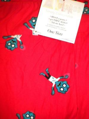 LuLaRoe red w/ Halloween Frankenstein print LEGGINGS OS , Buttery Soft / NWT](Female Frankenstein Halloween)