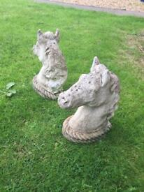 Pair of horse head statues