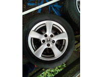 Honda 16inch Alloys Wheel with winter tyres! Just one season!
