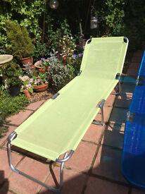 2 stylish fold up garden/beach sun loungers
