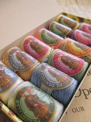 Box of 12 Sajou 'Fil au Chinoise' Cotton Lace Threads- Pastel Colours- No. 4