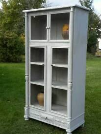 Antique Glazed French Linen Cupboard/Display Cabinet from SW France