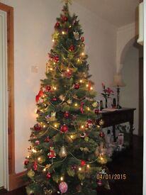 CHRISTMAS TREE - 7' LUXURY ELLESMERE PINE WITH RED BERRIES & PINE CONES