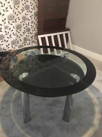 Black glass dinning table