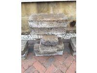 Concrete Slabs / Breeze Blocks x 440mm x 90mm x 210mm x 14 + 1 Cracked, 15 total