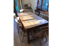 Farmhouse style table (160cm x 85cm approx) and chairs