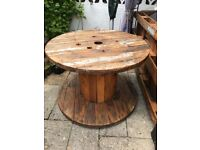 Cable drum large garden table on wheels