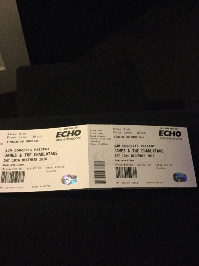 2x James & Charlatans standing tickets