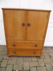 VINTAGE PINE/PLY TALLBOY DRESSER ORIGINAL FITTING STORAGE NICE PIECE
