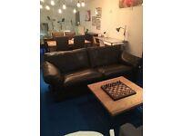 EX Display John Lewis Java Large Leather Sofa, Nature Brown rrp £2099