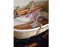 Moses basket with mattress and rocking stand. Free to collect!!!!!!! In good but used condition.