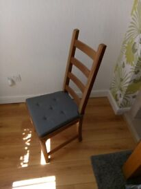 4 solid pine dining room chairs with cushions IKEA
