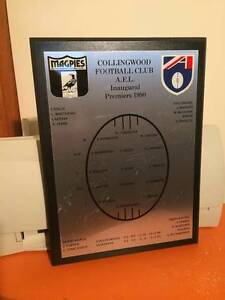 COLLINGWOOD FOOTBALL CLUB A.F.L 1990 PREMIERS A4 PLAQUE Endeavour Hills Casey Area Preview