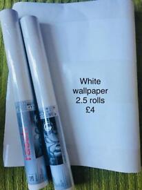 2 rolls of white glitz wallpaper