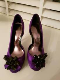Purple satin and jewel evening shoes SIZE 3