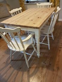 Painted pine table and chairs