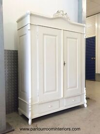PAINTED ANTIQUE FRENCH WARDROBE FULLY COLLAPSIBLE
